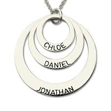 name engraved necklace engraved three disc necklace handmade disc necklace with kids name