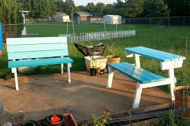 simple diy folding picnic with detached benches with back and