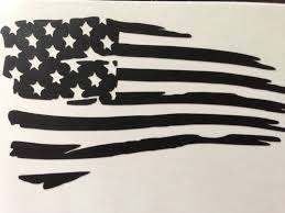 Ripped American Flag Tattered Flag Decal