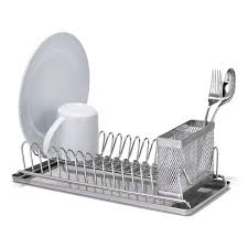 dish drainer for small side of sink polder stainless steel compact dish rack the container store