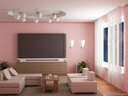 living room captivating pink wall painted with large lcd tv and