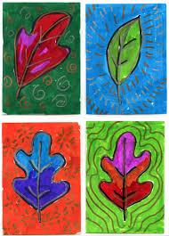 pre k art center art trading cards brush markers and leaf art
