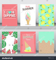 Size Invitation Card Summer Holiday Vacation Poster Set Flat Stock Vector 410779555