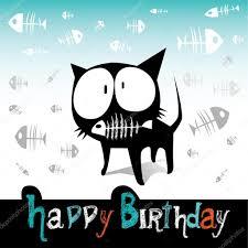 happy birthday funny cat and fish u2014 stock vector novkota1 16369153