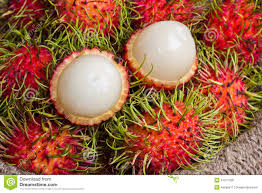 lychee fruit peeled asian fruit peeled rambutan and rambutan on sack stock photo