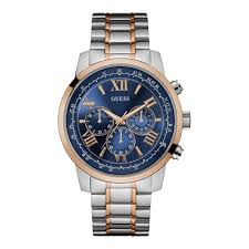 silver bracelet watches images Guess guess mens silver watch with gold trim blue chronograph jpg