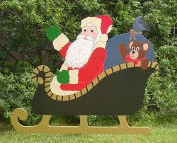 christmas holiday yard art santa sleigh u0026 reindeer holiday