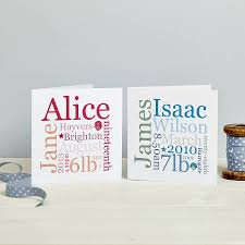 personalised new baby card pink or blue by spotty n stripy