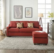 cleavon red linen reversible sectional sofa set