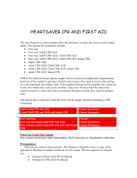 heartsaver cpr and or first aid in the