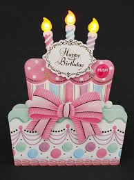 happy birthday cake lights and melody decorative pop up card