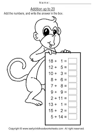 addition with sum up to 20 worksheets for preschool and kindergarten