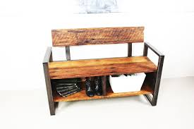 buy a custom unique reclaimed wood storage foyer bench made to