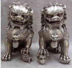 lion dog statue a pair fu foo dog guardian lion tibet silver luck animal