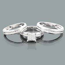 engagement rings set engagement ring set w wedding bands 0 83ct 14k white