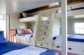 Full And Twin Bunk Bed Kids Beach Style With Rustic Ceiling - Kids built in bunk beds