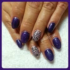 dark purple u0026 lavender glitter sculpted oval gel nails with hand