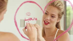 Bathroom Related Words Smiling Woman Writing Love Words On The Mirror With Lipsticks In
