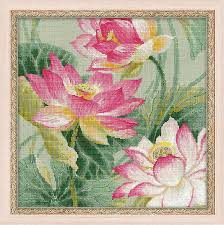 riolis counted cross stitch kit lotuses intermediate 14