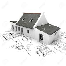 3d rendering of a house on top of architecture blueprints stock 3d rendering of a house on top of architecture blueprints stock photo 2460500