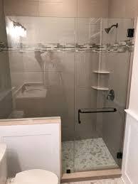 Shower Door Panel Door With Panel Cut Around Bench Seat Or Knee Wall Medford Lakes Nj