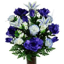 Blue And Purple Flowers Flowers For Cemeteries Inc