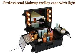 makeup luggage with lights professional portable pvc pu leather makeup case with lights