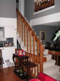 Stair Handrail And Spindles Stairway Update Iron Spindle Replacement Solid Wood Treads New