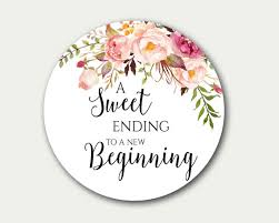 wedding tags wedding favor tag a sweet ending to a new beginning favor tag