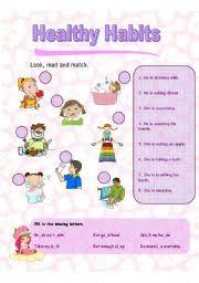 esl kids worksheets healthy habits