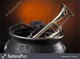 halloween background music musical instruments halloween trumpet spider stock picture