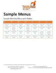 sample menu totally raw natural dog foodtotally raw natural dog food