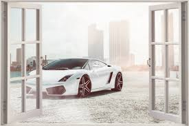 huge 3d window view lamborghini gallardo supercar wall sticker shop categories