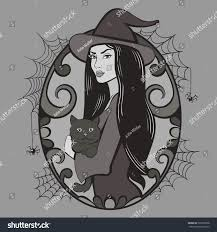 vintage halloween illustration vector vintage halloween witch illustration stock vector 320359628
