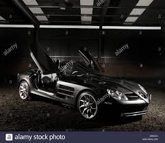butterfly doors mercedes benz slr mclaren with open gullwing doors stock photo