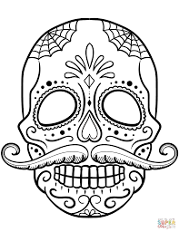 sugar skull with mustache coloring page free printable coloring
