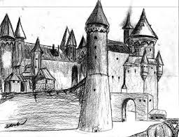 drawn castle sketched pencil and in color drawn castle sketched