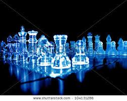 Futuristic Chess Set 3d Glowing Chess Board Blue Black Stock Illustration 10440361