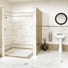 marble bathroom tile wall connected by white washstand and round