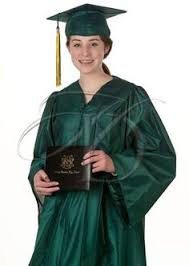 homeschool graduation cap and gown shown here with our academic gold neck ribbon and the