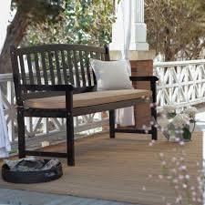 5 ft outdoor curved back garden bench with armrest in black wood