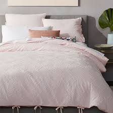 roar rabbit organic crisscross jacquard duvet cover pink