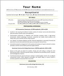 receptionist sample resume template free job and resume template