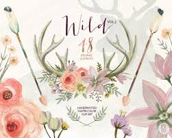 wedding flowers meaning watercolor flower antlers roses deer arrows tribal