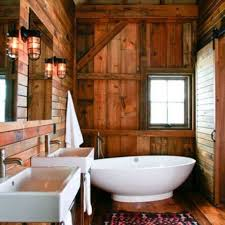bathroom modern bright white bath tub combined with wooden rustic
