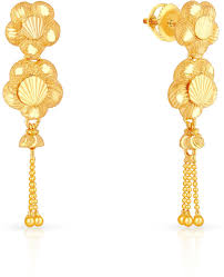 malabar earrings malabar gold and diamonds mhaaaaaavcqy 22 k gold drop earring in