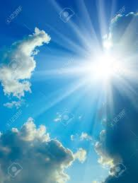 blue sky clouds and sun up stock photo picture and