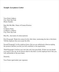 acceptance letter for job sample offer acceptance letter 9