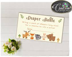photo insert cards woodland baby shower raffle insert ticket cards and sign