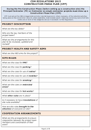 cdm regulations 2015 safety plan cpp template pp construction